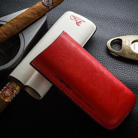 LUBINSKI 雪茄真皮套 便携2支装雪茄保湿皮管 古巴烟具配件