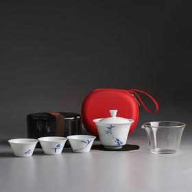 白瓷快客杯旅行茶具套装