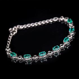 【CK8123103】18k金伴钻石镶嵌天然祖母绿手链