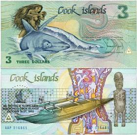 库克群岛3元人鱼钞