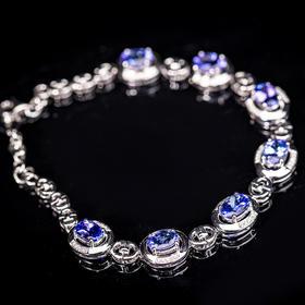 【CK8123104】18k金伴钻石镶嵌天然坦桑石手链