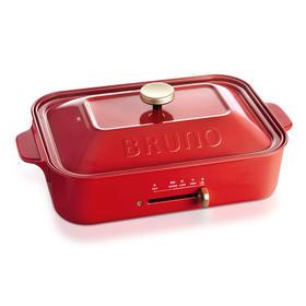 Bruno BOE021 日本多功能网红电烧烤炉 料理锅 烤肉锅 火锅 电烤盘 家用无烟不粘分离式锅 红色