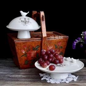 陶瓷 鸟首带盖甜点托盘蛋糕托盘小点心托盘 轰趴家宴Brunch下午茶 满包邮