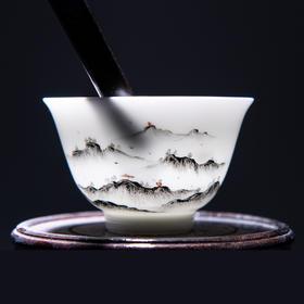 永利汇 景德镇手绘白瓷功夫茶杯单杯主人品茗杯陶瓷茶具 喝茶杯子