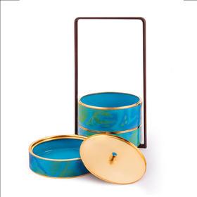 平仄原创设计景泰蓝提梁盒 珐琅彩中式提盒 茶盒 收纳盒