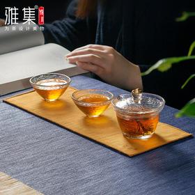 雅集锤纹玻璃盖碗公道杯碗加厚耐热日式分茶器品茶杯功夫茶具套装