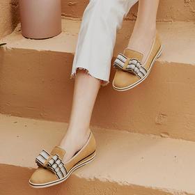 【福利大促】WAYNE FLEX 韦恩 可拆卸条纹拼接蝴蝶结 超舒适乐福JR-E-8 女鞋