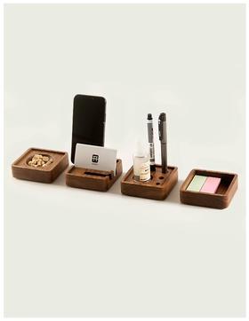 「办公室桌面收纳」开物文具收纳盒四件套装 手机支架/笔筒/杂物盒