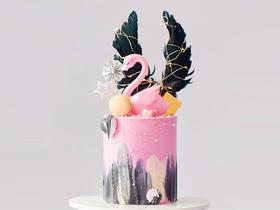 黑翅火烈鸟·网红情景生日蛋糕