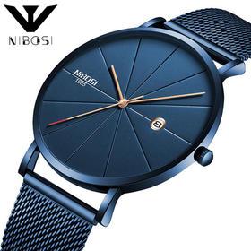 【Hold住各种场合】nibosi欧美男士时尚潮流手表 网带休闲石英腕表 防水抗高温
