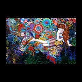 孙立沙《梦系列3紫领带巾》艺术丝巾
