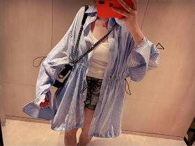 🔥🖤Unravel Project 19SS冰蓝色条纹丝滑防晒衣 又超级帅气百搭 高级哑光质感 完美1:1