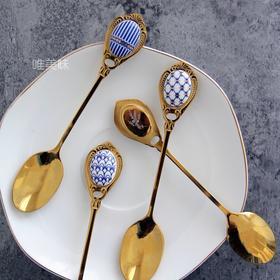 食品级304不锈钢 手工贴瓷片英伦风 咖啡匙茶匙甜品勺 4件套下午茶轰趴 满包邮