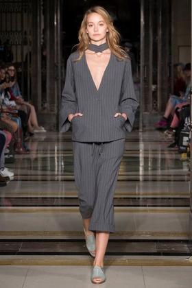 APUJAN台湾 条纹开襟饰领外套 条纹松紧带窄口长裤