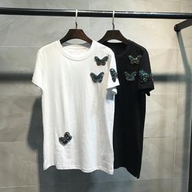 NEW!VALENTIN*新品T恤,超美蝴蝶钉珠设计,原版一比一精心定制,每只蝴蝶的配色不同更丰富层次。小码胸围90,肩宽38,长68,SM L,黑白两个色
