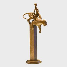 史雪亮《狮子座》棕色版   青铜铸造雕塑原作