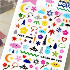 文创/可爱韩国贴纸系列/宇宙植物装饰手帐贴纸
