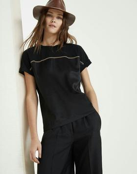 B*C19早春新款T恤‼️重工订珠⛓️装饰❗️进口纯棉面料➕真丝面料拼接❗️上身高端大气,黑白两色SML