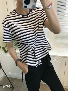 19早春新款圆领条纹短袖上衣‼️前面褶皱设计❗️上身百搭