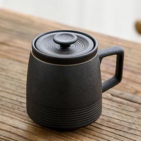 粗陶创意陶瓷带盖马克杯过滤茶杯家用个性简约便携随手杯主人杯