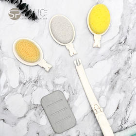 【一刷多用功能强大】sp sauce三合一多功能清洁刷 沐浴刷 磨脚石可替换刷头