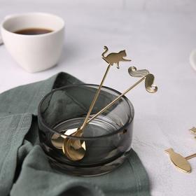日本高桑金属 elfin 可爱猫鱼勺子3件套 不锈钢镀金咖啡勺