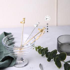 日本高桑金属elfin 爱心熊咖啡勺叉 金银两色可选