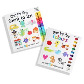 ♫盖世童书●可点读●one by one系列-我的滑块书(1数到10+颜色配对),数字和颜色启蒙的经典。