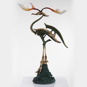 松岡道弘 鹿角立鹤 - 青铜色 雕塑