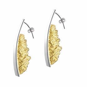 娜茉 熔岩湖耳环 铂金色 艺术首饰