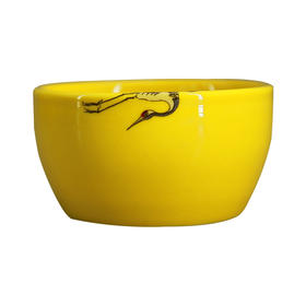 冯玮瑜  黄釉斗彩仙鹤杯(折翅)瓷器