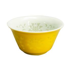 冯玮瑜 黄釉玲珑撇口杯 黄釉马蹄杯 瓷器