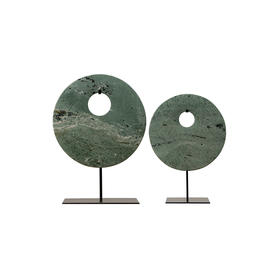 华伦家具绿色偏心玉片WBH19010004WBH19010003Green marble disk with stand