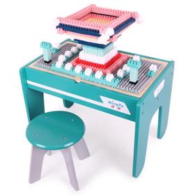 铭塔儿童积木桌子多功能大颗粒实木质宝宝拼装玩具早教益智3-6岁