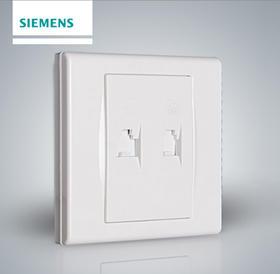 西门子开关插座面板品宜雅白超五类二位电脑电话