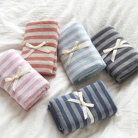 无印天竺棉枕套纯棉针织枕套 日式简约条纹
