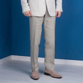 高级类定制款成品亚麻西裤
