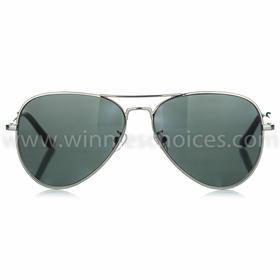 W02飞行员款太阳眼镜成人款(暗银色金属镜架配灰色镜片)
