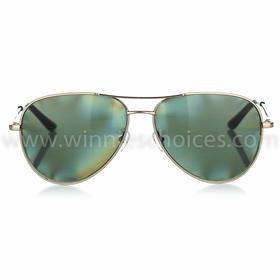 W02飞行员款成人码太阳眼镜金色金属镜架配绿色镜片