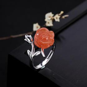 YLY002新款S925纯银天然南红玛瑙复古玫瑰镶嵌戒指TZF