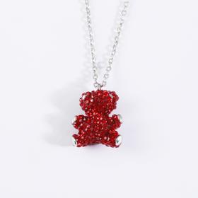 玩偶 红水晶精致小熊项链