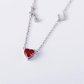 I LOVE YOU 我爱你红水晶拼接项链