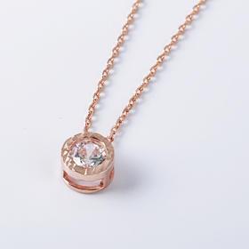 Carat-lovers 简约单钻圆形切割彩银项链
