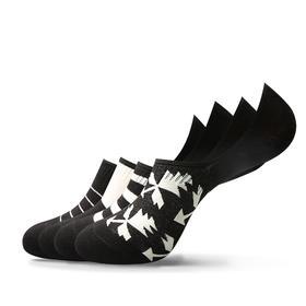 非黑即白隐形袜男夏季经典黑白棉袜 硅胶防滑(4双装)