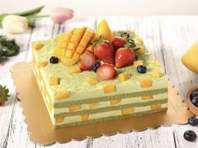 抹茶尚品·草莓芒果抹茶方形裸生日蛋糕