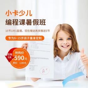 【特惠】小卡在线编程课暑假班,5节基础课+15节正式课早鸟价590元
