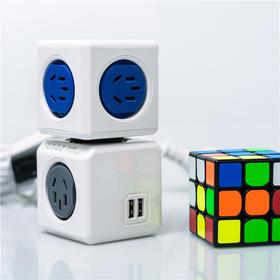 「节省空间 」德国红点设计大奖迷你创意方块/立体插座 带USB插孔 解决插座拥挤问题