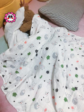 限时6折!纯棉纱布宝宝洗澡巾新生儿盖毯儿童毛巾被 棉吸水加厚
