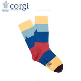 英国CORGI·夏季新款男士轻棉长袜薄款中筒袜休闲运动条纹袜子
