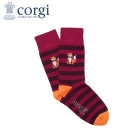 英国CORGI·男女同款时尚条纹精英袜休闲运动中筒轻棉长袜印花狐狸图案